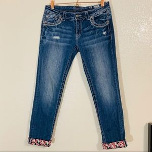 Miss Me | EUC Floral Cuffed Skinny Jeans - Size 30